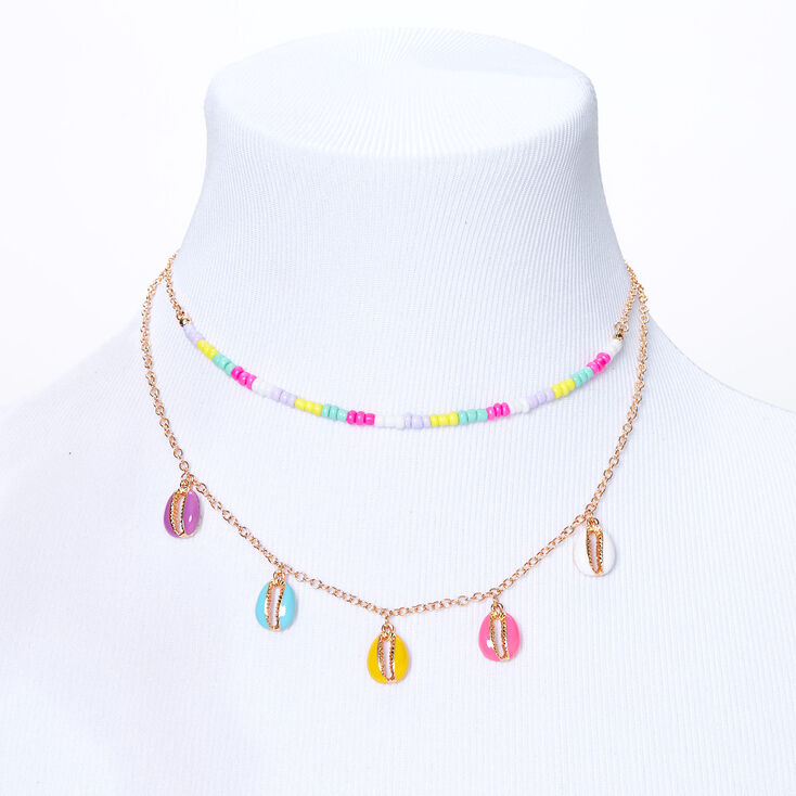 Candy Beaded Cowrie Shell Multi Strand Necklace,
