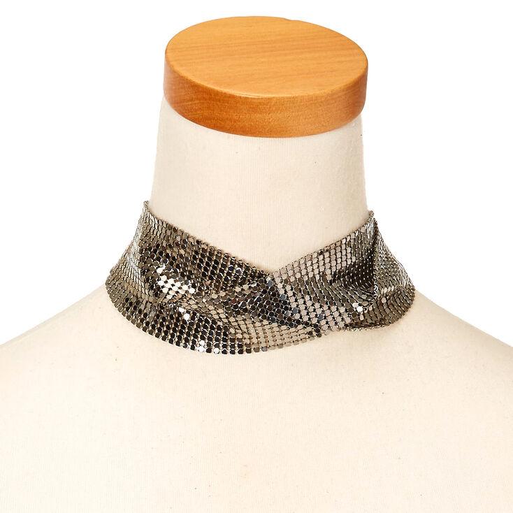 Silver Tone Disco Criss-Cross Choker Necklace,