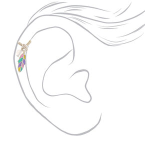 Faux Rainbow Feather Cartilage Earring,