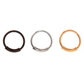 Mixed Metal 20G Sleek Bar Hoop Nose Rings - 3 Pack,