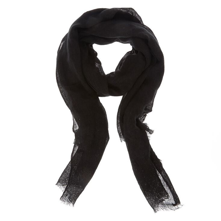 Solid Black Knit Scarf,