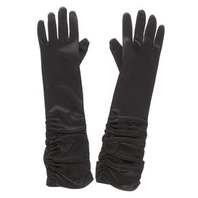 Black Satin Ruched Gloves,