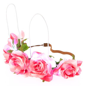 Light Up Bunny Ears Flower Crown Headwrap - Pink,