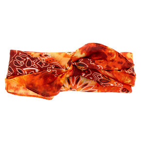 Tie Dye Paisley Knotted Bandana Headwrap - Orange,