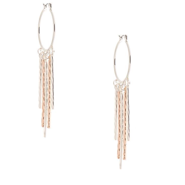 Mixed Metal 30MM Hammered Tassel Hoop Earrings,