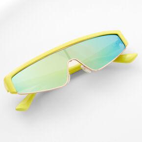 Neon Shield Sunglasses - Lime Green,