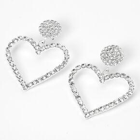 """Silver 1.5"""" Rhinestone Open Heart Drop Earrings,"""
