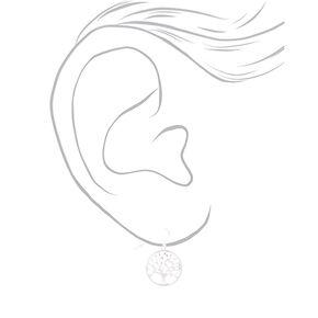 """Silver 1"""" Tree of Life Drop Earrings,"""