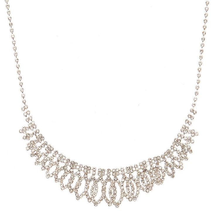 Silver Rhinestone Layered Leaf Statement Necklace,