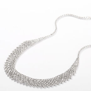 Silver Rhinestone Waterfall Statement Necklace,