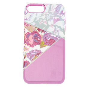 Floral & Marble Protective Phone Case - Fits iPhone 6/7/8 Plus,