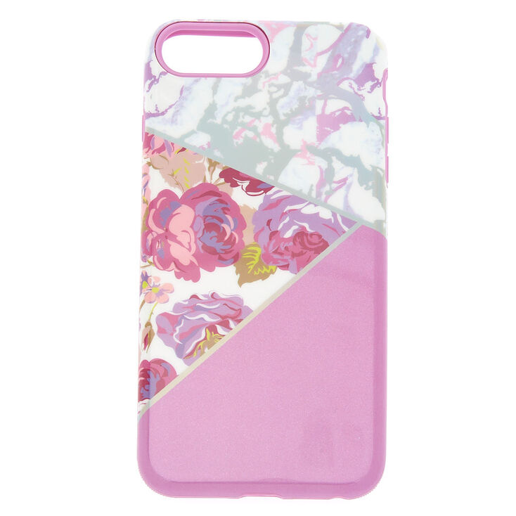 Floral and Marble Protective Phone Case - Lilac,
