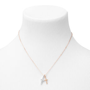 Mixed Metal Double Cross Pendant Necklace,