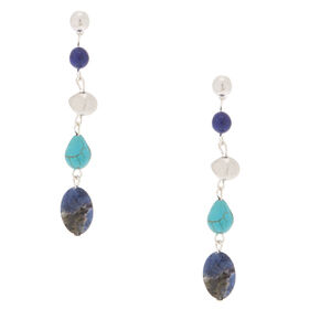 "2.5"" Natural Stone Drop Earrings - Blue,"