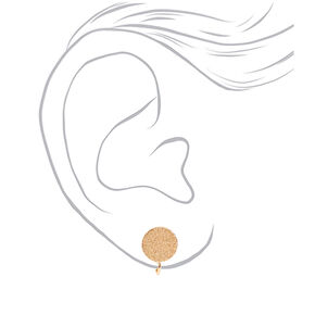 Gold Rubberized Clip On Stud Earrings - 3 Pack,