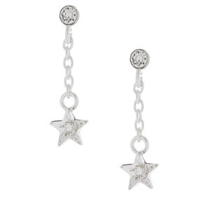 Sterling Silver Swarovski© Star Drop Earrings,