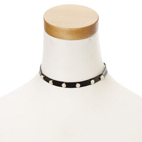 Black Leather Pearl Choker Necklace,