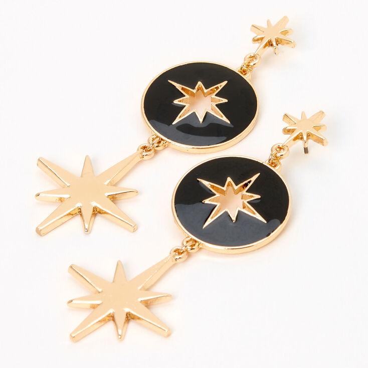 """Gold 2"""" Cut Out Celestial Linear Drop Earrings - Black,"""