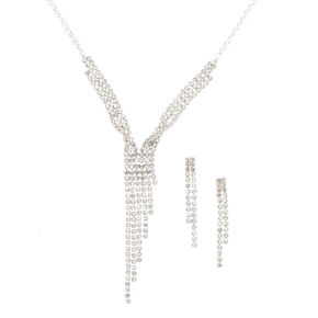 Silver Tone Linear Faux Crystal Jewelry Set,