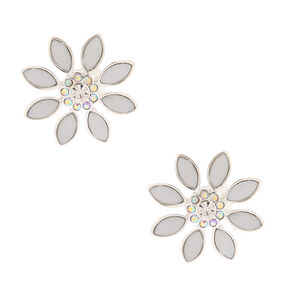 Silver Opal Crystal Flower Clip On Stud Earrings,