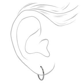 Silver Titanium 12MM Sleek Hoop Earrings,