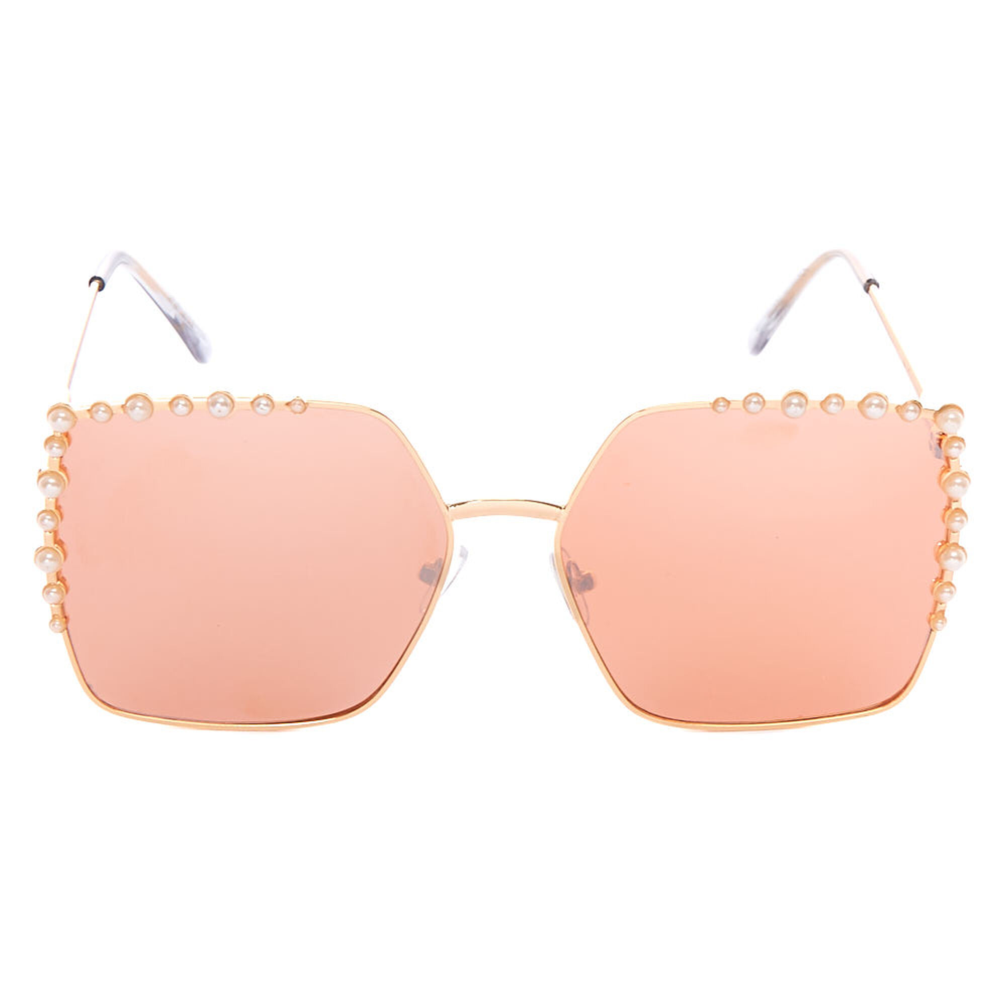 f46aecb2a53 ... Vintage Oversized Square Pearl Sunglasses - Rose Gold