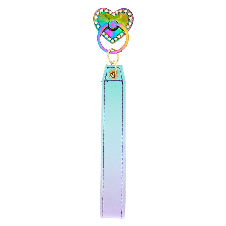 Rainbow Heart Ring Stand With Wrist Strap - Blue,