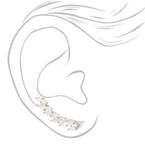 """Silver 1.75"""" Cubic Zirconia Ear Crawler Earrings,"""