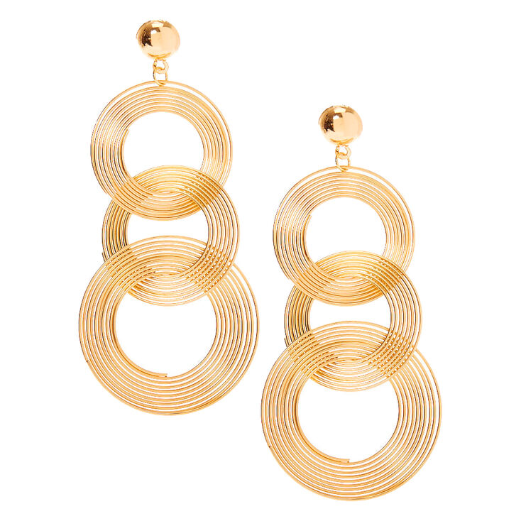 Vintage Style Jewelry, Retro Jewelry Icing Gold 3.5 Spiral Ring Drop Earrings $12.99 AT vintagedancer.com