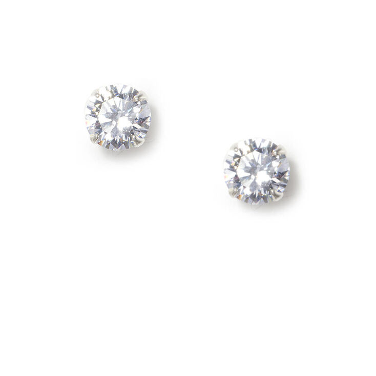 Sterling Silver Cubic Zirconia 7MM Martini Stud Earrings,