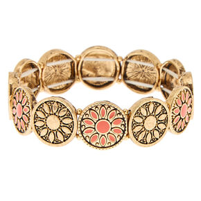 Gold Medallion Stretch Bracelet - Coral,