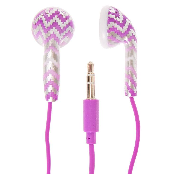 Purple Chevron Earbuds,