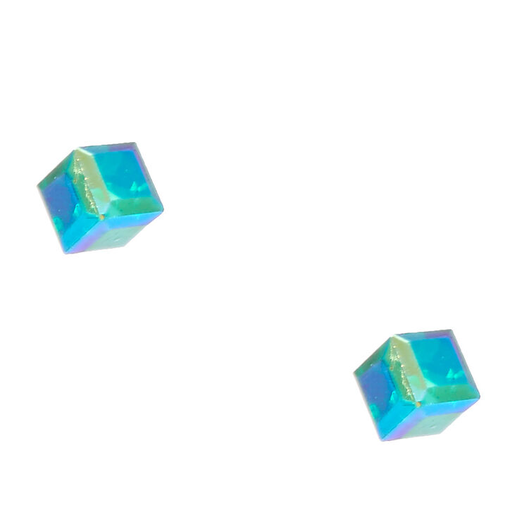 Iridescent Green Cubed Stud Earrings,