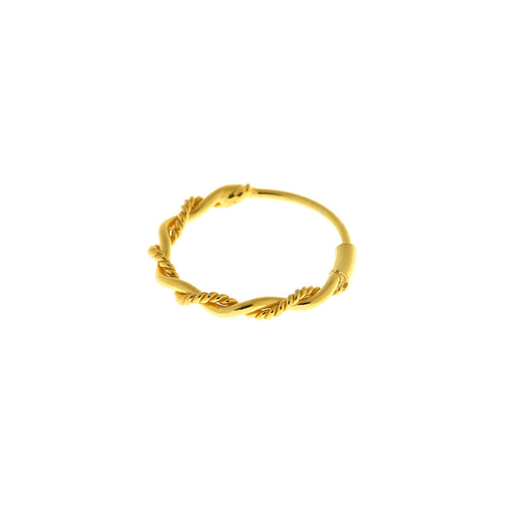 Gold Sterling Silver 22G Braided Nose Ring,