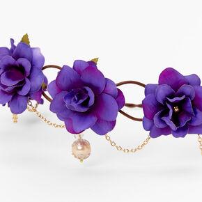 Gold Chain Flower Vine Headwrap - Purple,