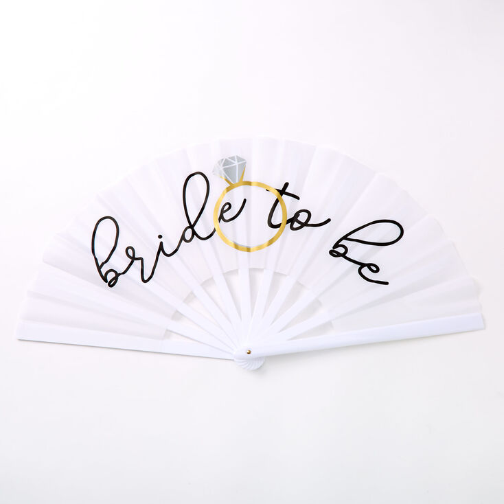 Bride To Be Oversized Folding Fan - White,