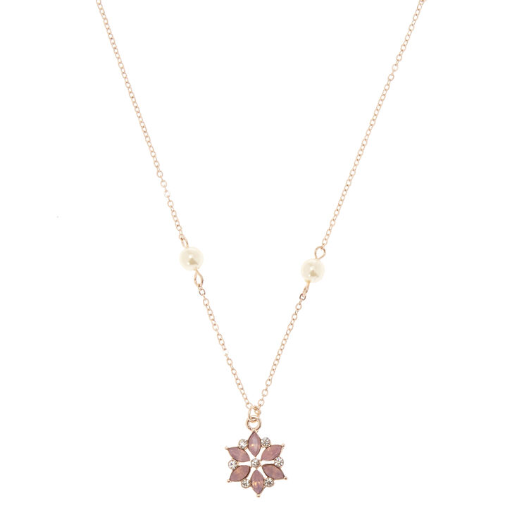 Rose Gold-Tone Flower Pendant Necklace,
