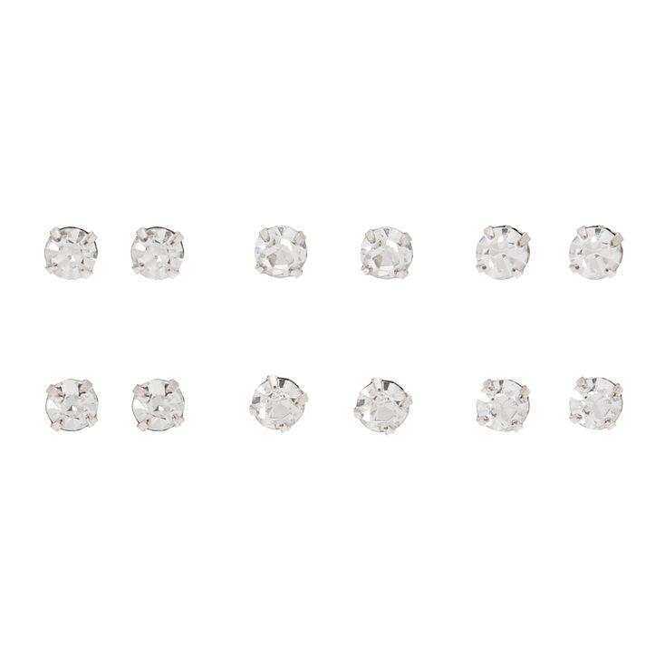 Rose Gold 4MM Crystal Stud Earrings - 6 Pack,