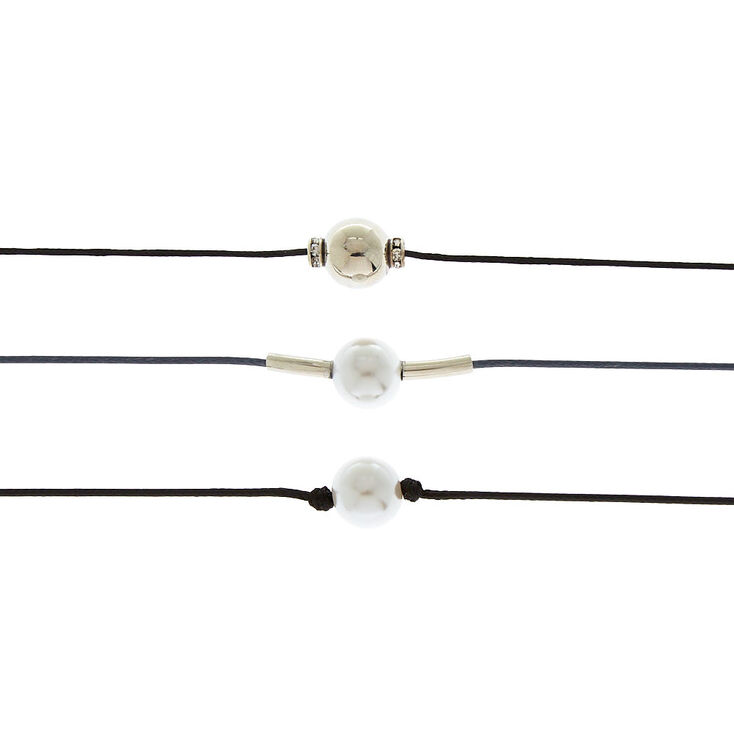 Pearl Cord Choker Necklaces - Black, 3 Pack,