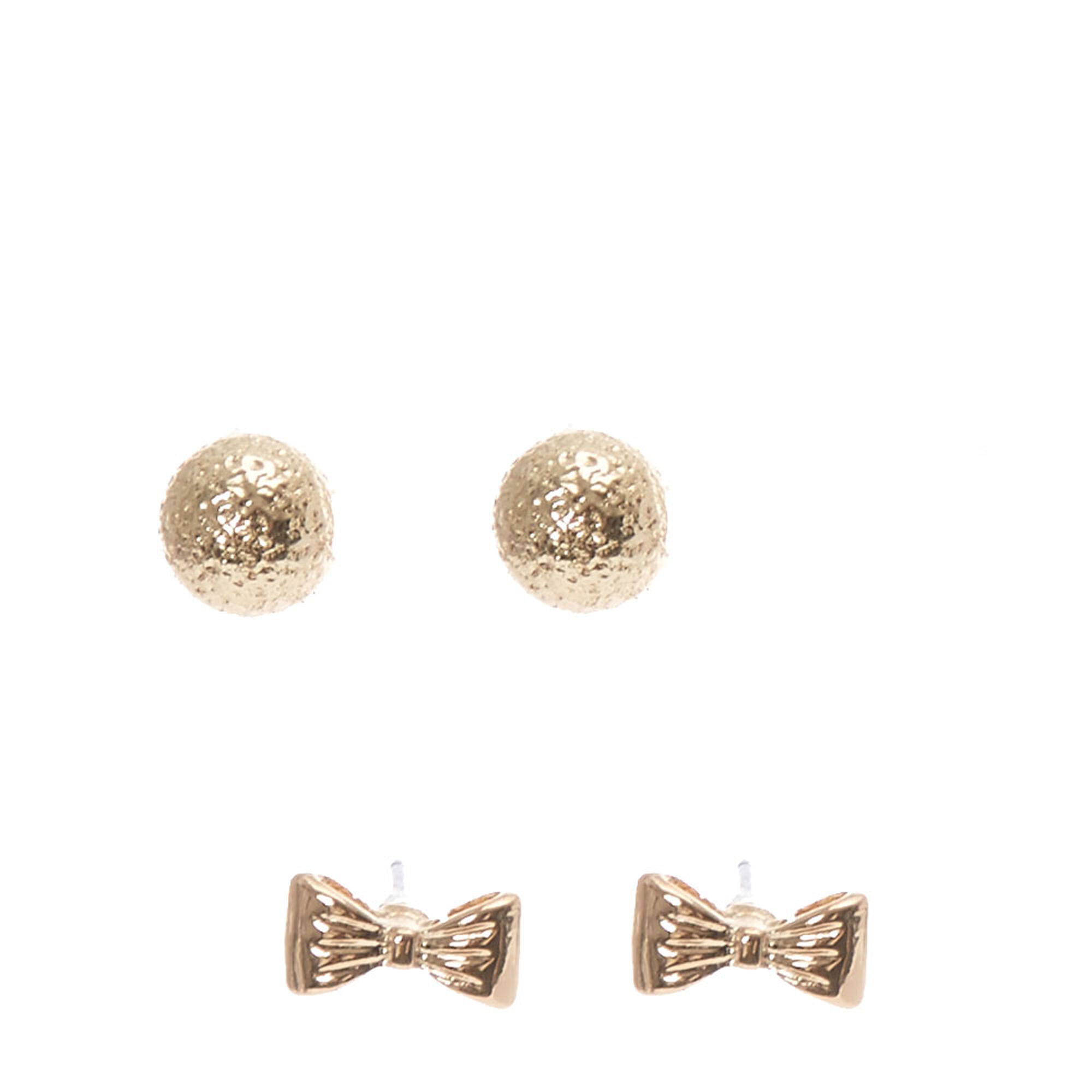 Gold Bow Hammered Ball Stud Earrings