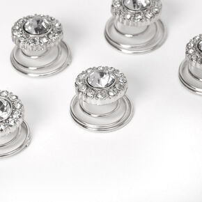 Silver Rhinestone Halo Hair Spinners - 6 Pack,