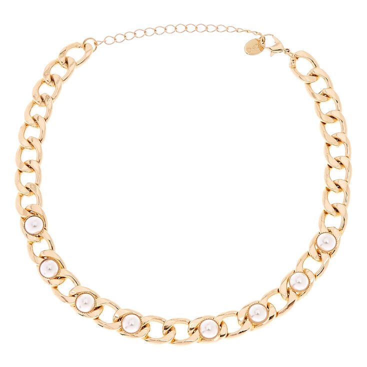 Gold-Tone Chunky Chain Choker Necklace with Pearls,