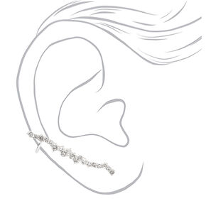 "Silver 1.5"" Delicate Stone Ear Crawler Earrings,"