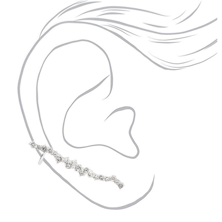 """Silver 1.5"""" Delicate Stone Ear Crawler Earrings,"""