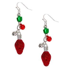 "Silver 2.5"" Christmas Light Drop Earrings,"