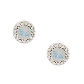 Silver Opalescent Crystal Stud Earrings,