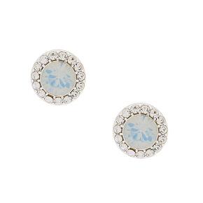 Silver Opalescent Crystal Stud Earrings,