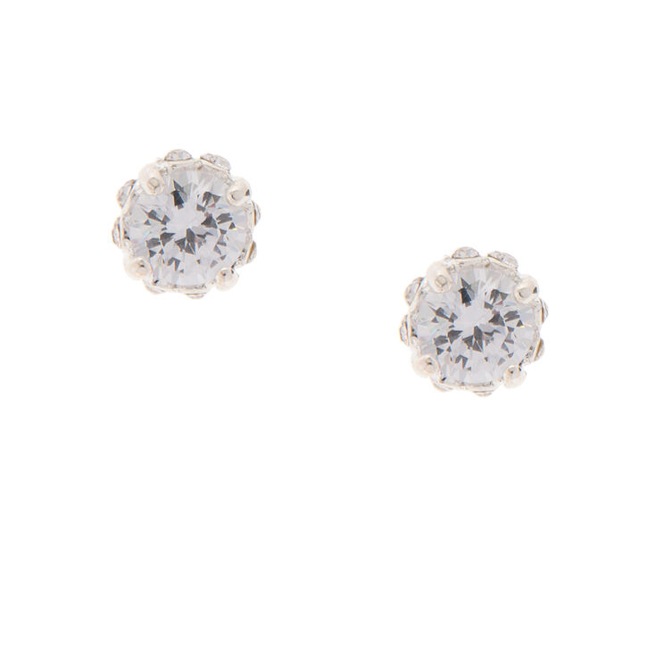 8MM Diamond Set Round Cubic Zirconia Stud Earrings,