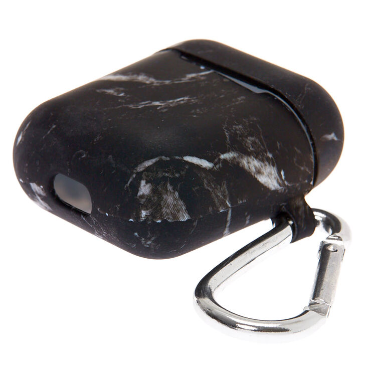 Black Marble Silicone Earbud Case Cover - Compatible With Apple AirPods,