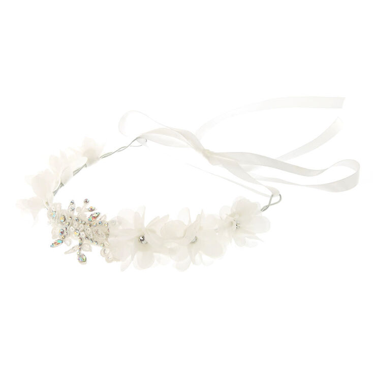 White Flower Applique Headwrap,